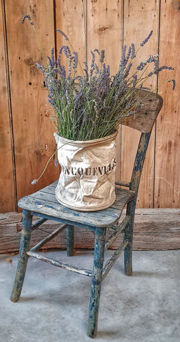 French country Rustic Linen Bucket Old french Linen Foncquevillers Dusty Gems Interiors Nantwich