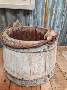 French Wooden Milk Bucket Primitive Rustic French country