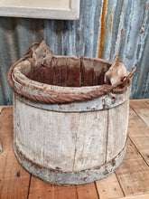 Load image into Gallery viewer, French Wooden Milk Bucket Primitive Rustic Farmhouse
