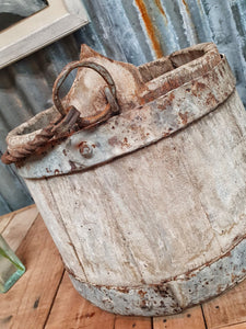 French Wooden Milk Bucket Primitive Rustic Farmhouse