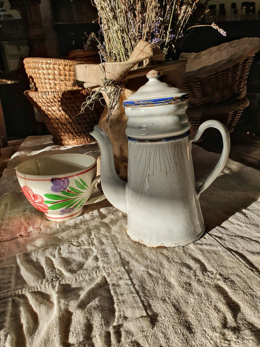 French Enamel Cafetiere Coffee Pot