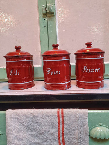 French country Enamel coffee sugar chicoree Canisters French linen French farm house furniture simple slow living rustic kitchen dusty gems interiors nantwich