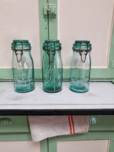 French Vintage Glass La Lorraine storage Jars country kitchen rustic French country farmhouse kitchen ideas kitchen storage rustic kitchen