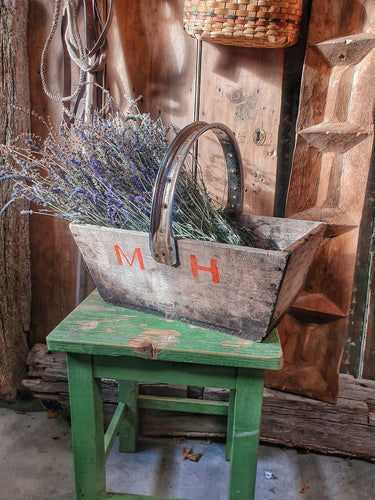 French Vintage Farm Trug Or Panier rustic  farmhouse french country kitchen Lavender bunches country cottage dusty gems interiors nantwich french rustic