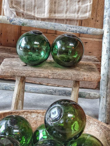 Vintage French Glass Fishing floats french country beach house seaside home vintage glass