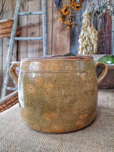 French Rustic Confit Pot French country Ceramic Glazed Pot Antique French great for country kitchen dusty gems interiors nantwich