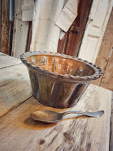 Load image into Gallery viewer, Vintage country  Rustic Hungarian Kugelhopf, cookware ceramic bowl green glazed country rustic country kitchen dusty gems interiors nantwich