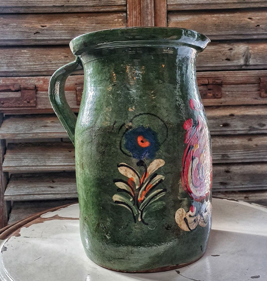 Hungarian vintage folk pottery Jug water jug country kitchen rustic bathroom farmhouse dusty gems interiors nantwich