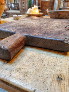 French Antique farmhouse Oak chopping board. French country kitchen sourdough bread brie cheese farmhouse kitchen ideas dusty gems interiors Nantwich