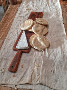 Antique French Country Rustic Oak Chopping charcuterie Board French antique linen with Brie cheese and french farmhouse bread dust gems interiors nantwich