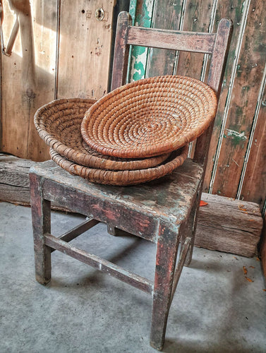 Rustic  Vintage French Rye Straw Farmhouse Basket on french farmhouse chair French country decor painted rustic furniture egg basket vegtable basket farmhouse decor dusty gems interiors nantwich