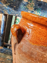 Load image into Gallery viewer, Antique Rustic Spanish Terracotta Confit Pot on painted rustic farmhouse chair french country kitchen spanish pottery with orrange brown honey glaze french contry dusty gems interiors nantwich
