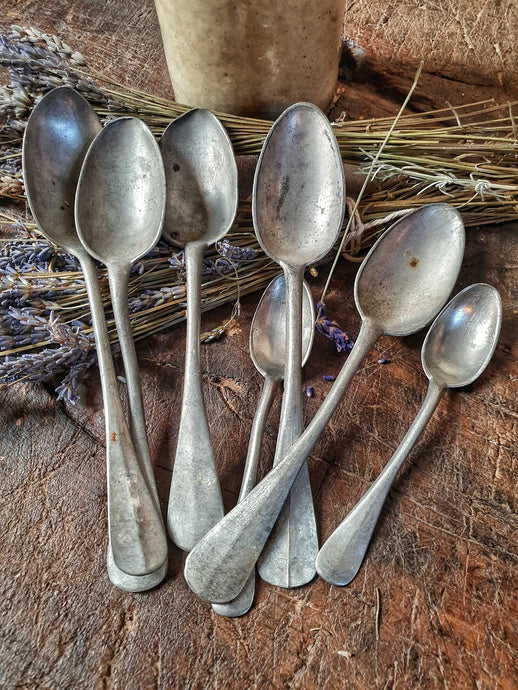 French Antique Pewter Spoons French country rustic farmhouse kitchen period home elm table Lavender dusty gems interiors nantwich