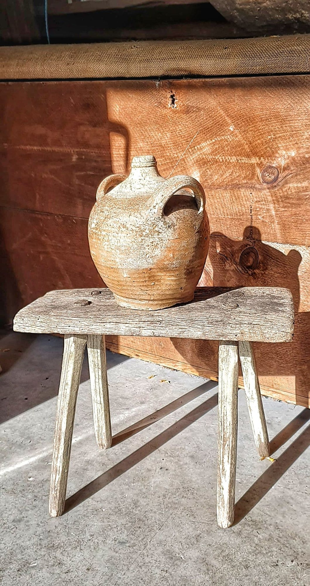 French Antique country rustic Farmhouse Stool cottage style with original paint French country furniture Primitive farmhouse stool super rustic stool from Dusty Gems interiors Nantwich