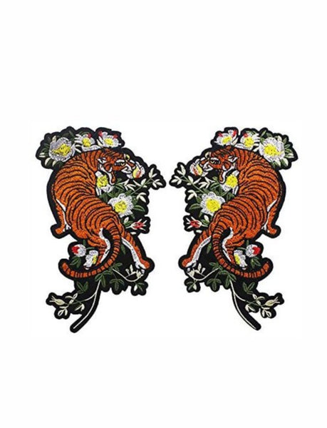 Coppia Patch Ricamate Tigers