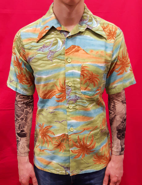 Vintage Camicia Tg. M Hawaii Green