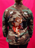Original Army Jacket Customized Camouflage Roses