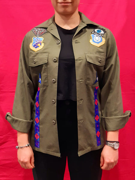 Original Army Jacket Customized with Blue Stripes