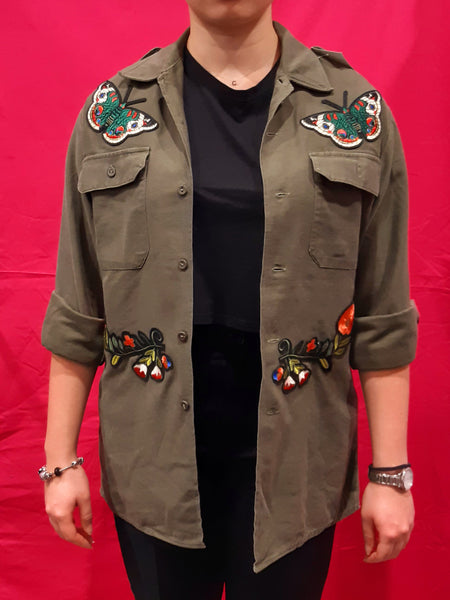 Original Army Jacket Customized with 2 Flowers