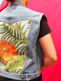 Vintage Custom Denim Gilet Unisex Orange Flower