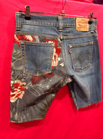 Vintage Bermuda Levi's 506 tg. W32 Custom Red Flowers