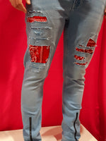 Custom Jeans Red Bandana // Tg. 44/46 (W 30/32)