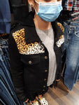 Denim Jacket Custom Black Leopard