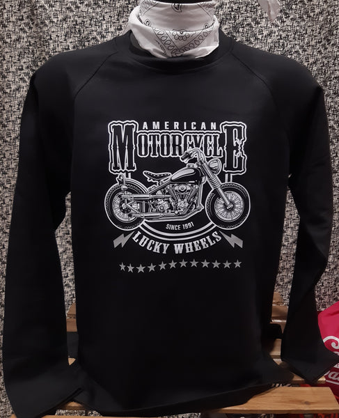 Felpa Girocollo Motorcycle Black