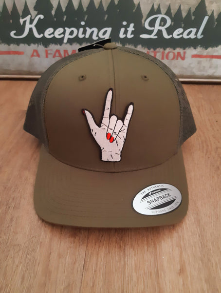 Snapback Cap with Rock Horns