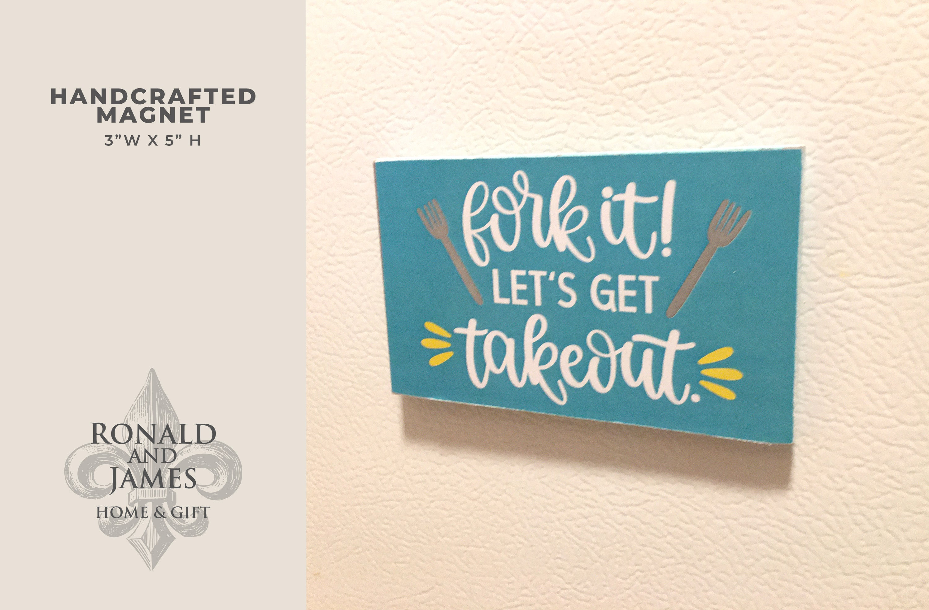 Handcrafted Magnet -Fork it! Let's get Takeout