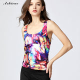 AchieveFashion Women's Aerobics Gym Dance Yoga Vest Printed Sports Bra Top Vest