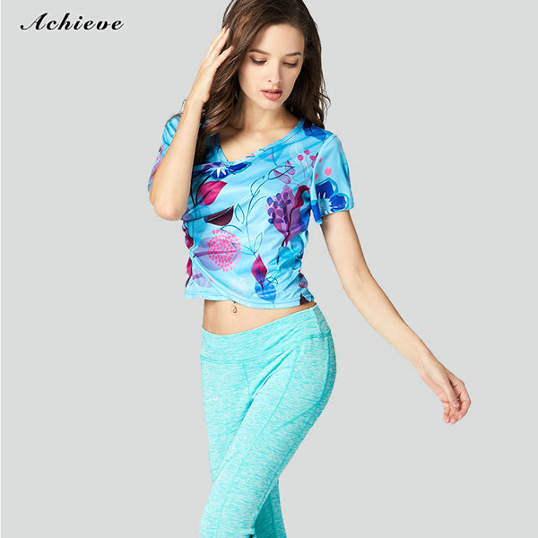 AchieveFashion Women's Yoga Short Sleeve Floral Printed Tops