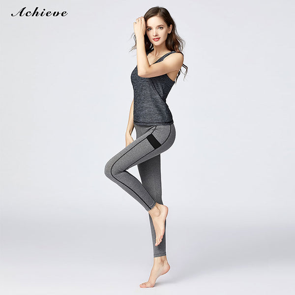 AchieveFashion Women's Yoga Capris Power Flex Running Pants Workout Leggings