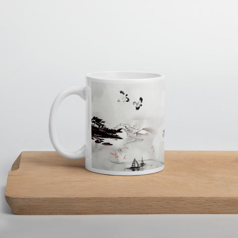 "Chinese Painting ""Bridge, Houses, Stream"" Mug"
