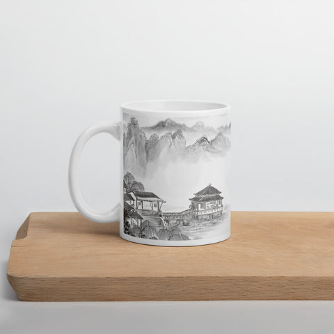 "Chinese Painting ""Mountain, River, Houses and Friends"" Mug"