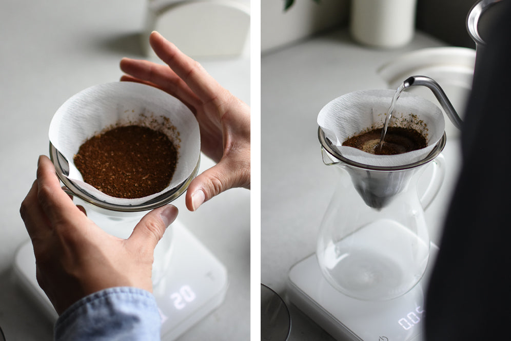 Placing ground coffee on weigh scale and pouring water into SLOW COFFEE STYLE carafe