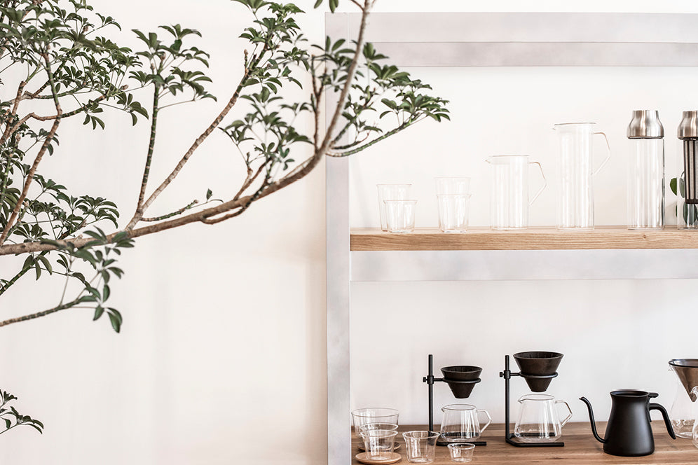 Display shelf of KINTO glassware and coffeeware products