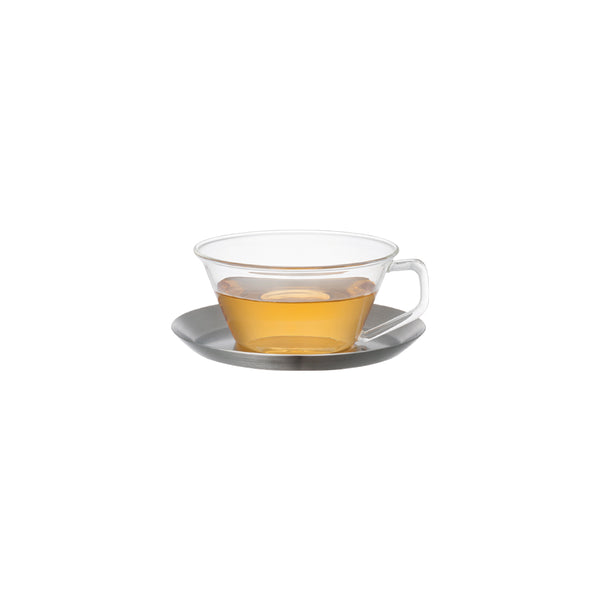 KINTO CAST TEA CUP & SAUCER STAINLESS STEEL