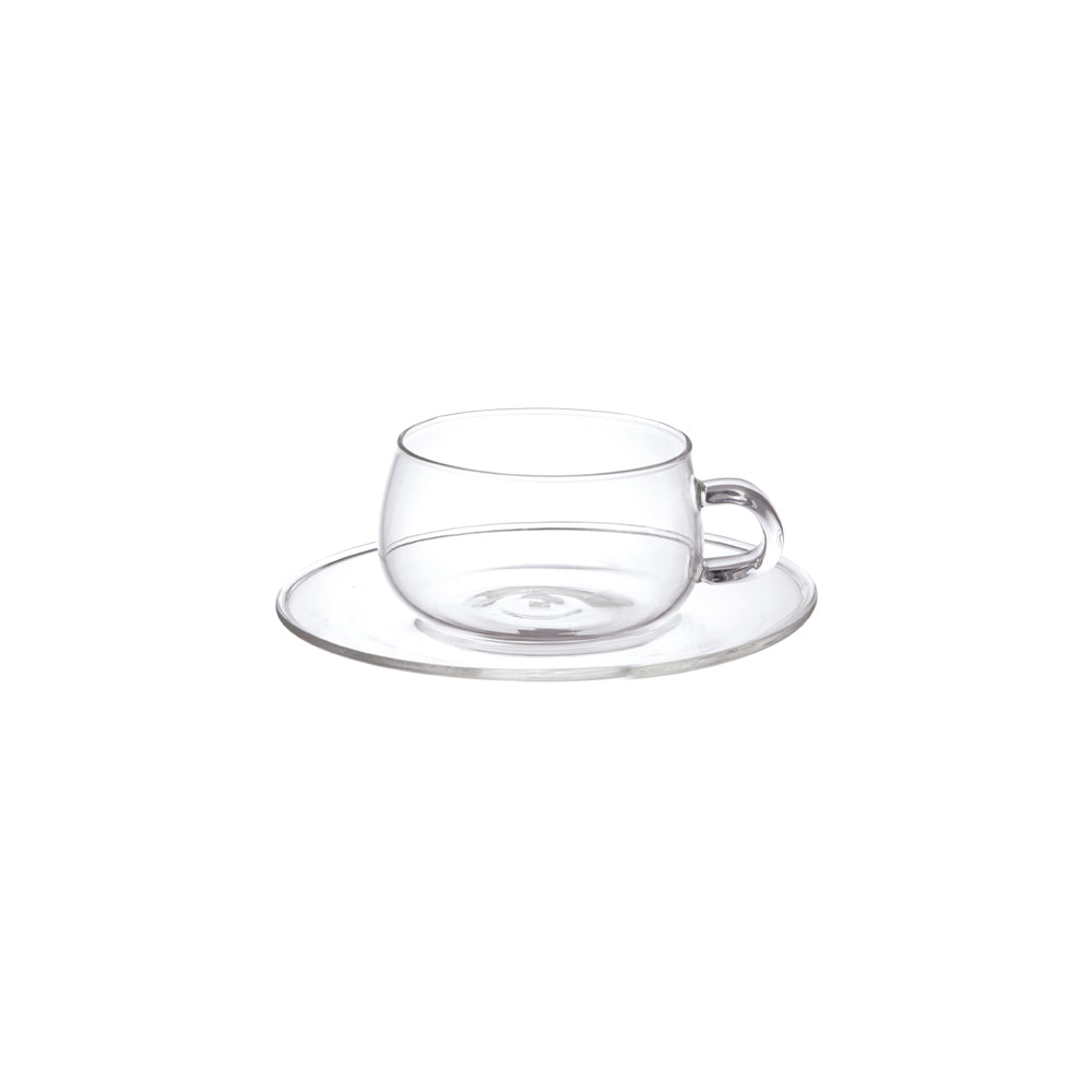 KINTO UNITEA CUP & SAUCER 230ML GLASS  CLEAR
