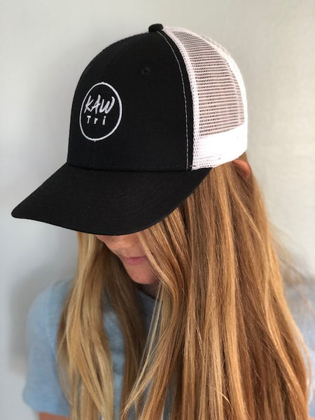 Trucker Hat - Black/White Hat - KAWtri Boutique