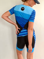 Short Sleeve Aero Tri Top - Blue Stripe - KAWtri Boutique
