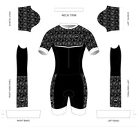 Black and White with a Twist  Short Sleeved Aero Tri Suit - KAWtri Boutique
