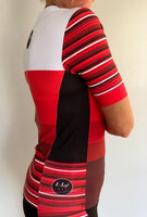 Short Sleeve Aero Tri Top - Red Stripe - KAWtri Boutique