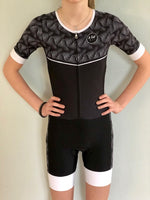Black and White with a Twist  Short Sleeved Aero Tri Suit