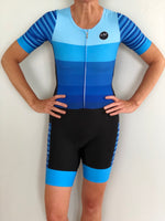 Short Sleeve Aero Tri Suit - Blue Stripes - KAWtri Boutique
