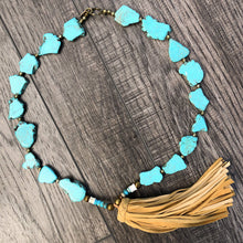 Load image into Gallery viewer, TURQUOISE + BRASS TASSEL