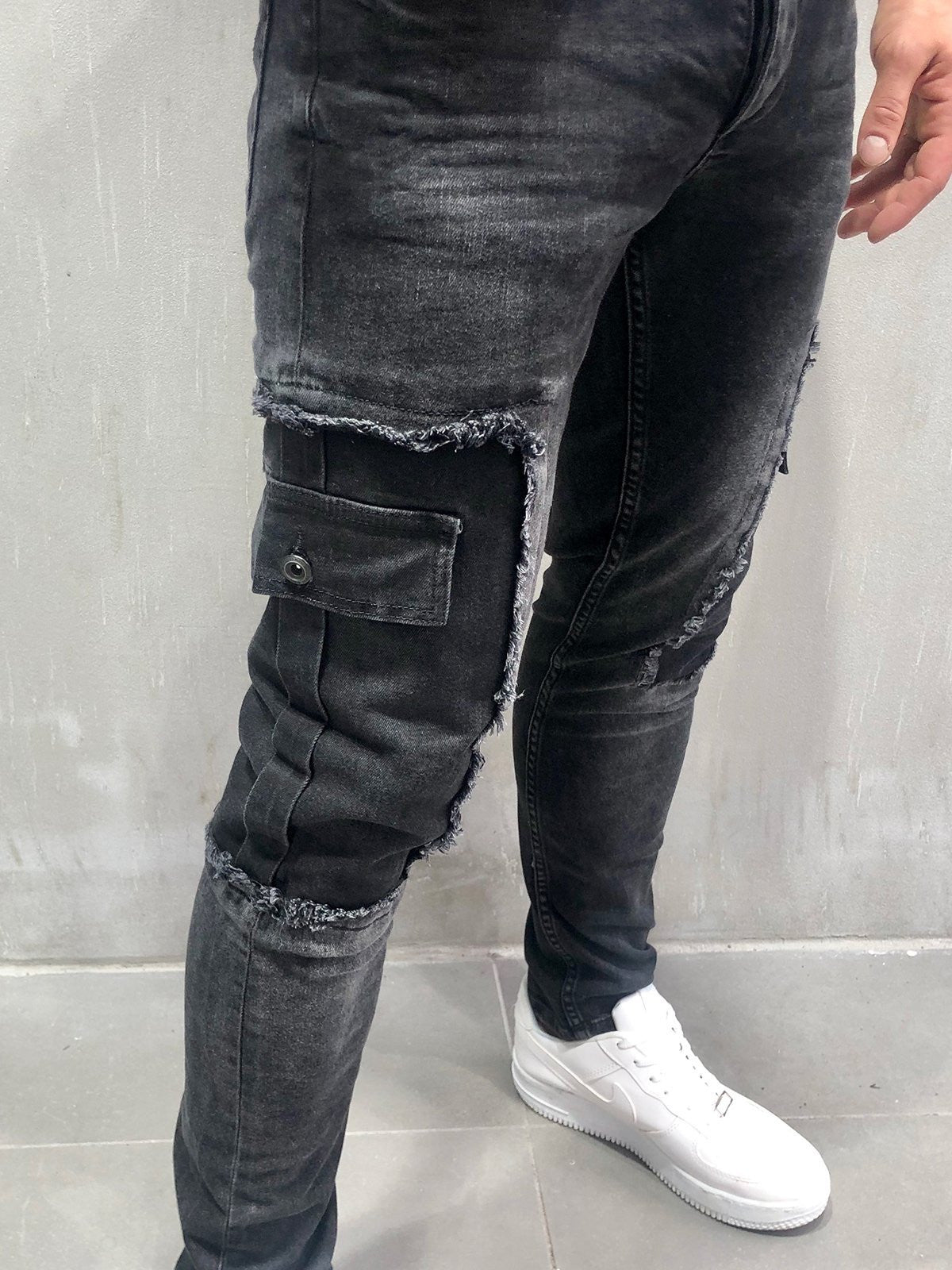 Distressed Jeans Patched Cargo Pockets 4056
