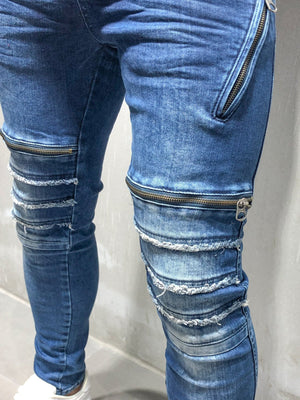 Distressed Jeans Zipper Detail 4131