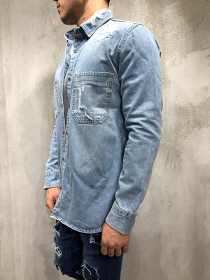 Ripped Denim Shirt Light Wash Blue