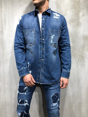 Ripped Denim Shirt Bleach Wash 4153